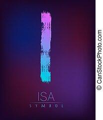 espiritual, tendencia, cepillo, azul, gradiente, fondo., mancha, futhark, símbolo, rosa, signo., rayas, oscuridad, escandinavia, color, misterio, magia, illustration., riqueza, letters., vector, runa, isa