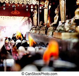 espiritual, viagem, mente, oferecendo, buddha, meditation., calmo, thailand.