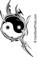 espiritual, yin, símbolo, yang