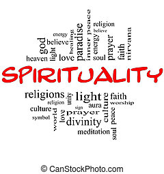 espiritualidad, palabra, nube, concepto, en, rojo, y, negro