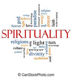 espiritualidade, conceito, palavra, nuvem
