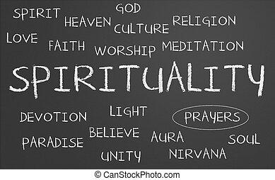 espiritualidade, palavra, nuvem