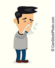 espirrando, homem, pessoa, vetorial, apartamento, character.