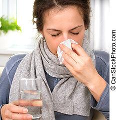 espirrando, mulher, em, tissue., doente, woman., gripe
