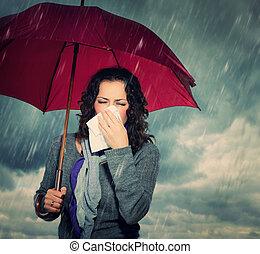 espirrando, mulher guarda-chuva, sobre, outono, chuva, fundo
