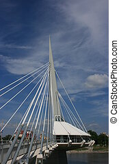 Esplanade Riel - Riel Walkway spaning over the Red river in...