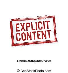 esplicito, fermata, content., età, adulti, isolato, illustrazione, restrizione, vettore, segno., only., fondo., rosso, stamp., bianco