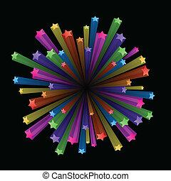 esplodere, colorito, stelle
