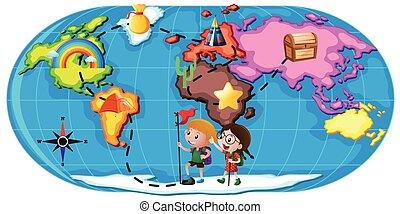 esplorare, bambini, mondo