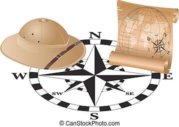 esploratore, cappello, mappa, bussola