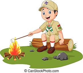 esploratore, cartone animato, marshmallow, torrefazione
