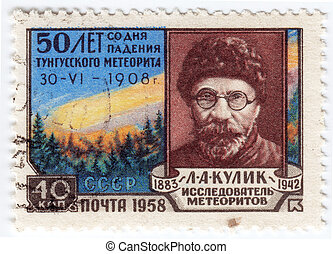:, esploratore, leonid, francobollo, kulik, mostra, -, russo, meteorite, alekseyevich, mineralogist, stampato, urss, circa, tunguska, 1958