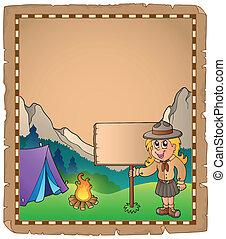 esploratore ragazza, asse, pergamena
