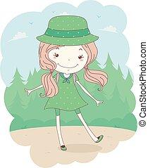 esploratore ragazza, foresta, illustrazione, capretto