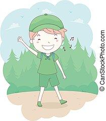 esploratore ragazzo, canto, foresta, capretto