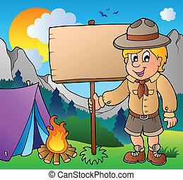 esploratore ragazzo, esterno, asse, presa a terra