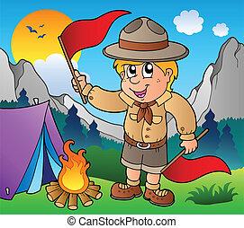 esploratore ragazzo, esterno, bandiere