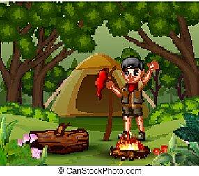 esploratore ragazzo, foresta, accampandosi fuori
