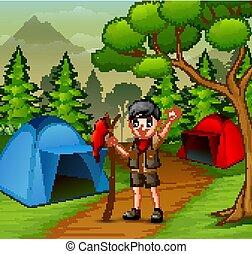 esploratore ragazzo, foresta, campeggio, felice