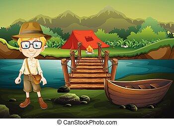 esploratore ragazzo, foresta, campeggio