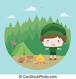 esploratore ragazzo, foresta
