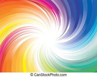 esplosione, di, arcobaleno, raggio, luci