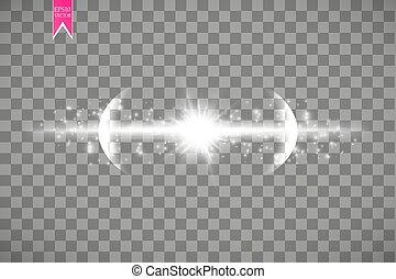 esplosione, differente, raggi, stella, scintille, volare, particelle, illustrazione, effetto, vettore, flash., fondo, lens., indicazione, bianco, trasparente, splendore