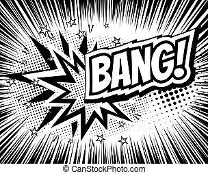 esplosione, fondo, wording., halftone, scoppio, vettore, illustrazione, sagoma, pop-art, comico, style., cartone animato, rays.