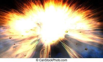 esplosione, illustrazione, digitale