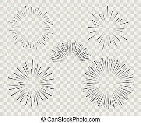 esplosione, selezione, silhouette, semplice, fireworks, isolato, lines., fondo., vettore, illustrazione, bianco
