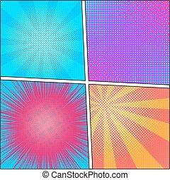 esplosione, vettore, illustration., retro, arte popolare, fondo, con, dots., luce, rays.