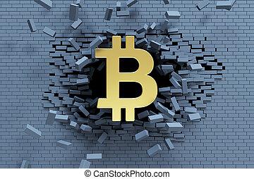 esplosivo, crescita, di, bitcoin, 3d, concetto
