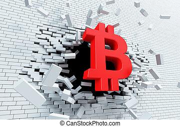 esplosivo, crescita, di, bitcoin, 3d, interpretazione, concetto