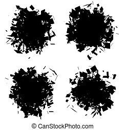 esploso, forma, silhouette, colomba, nero