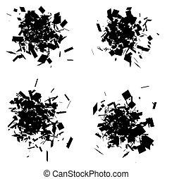 esploso, set, silhouette, icona, nero