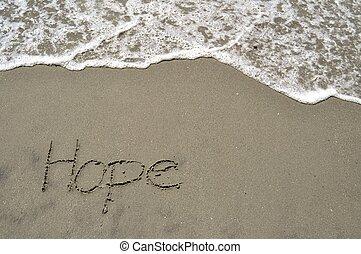 espoir, dans sable