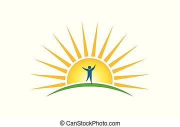 espoir, force, gens, concept, soleil, logo., matin, heureux