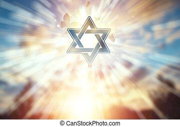 espoir, sunset., religion, fond, beau, judaïsme, symbole, étoile, freedom., espoir, david, foi, concept