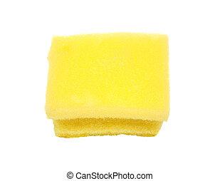 esponja, branca, fundo amarelo