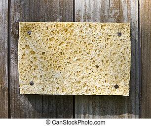 esponja, en, de madera, plano de fondo