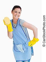 esponja, mujer, limpieza, presentación