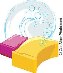 esponjas, con, jabonoso, burbujas