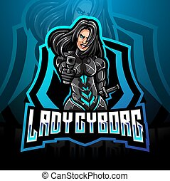 esport, cyborg, dame, maskottchen, logo, design