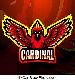 esport, design, maskottchen, logo, kardinal