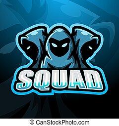 esport, escouade, logo, conception, 3, ninja