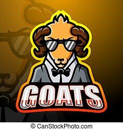 esport, logotipo, diseño, mascota, goat