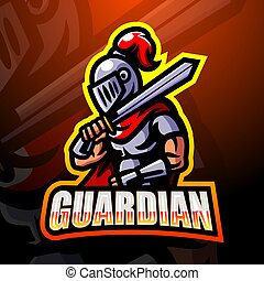 esport, logotipo, guardián, mascota, diseño