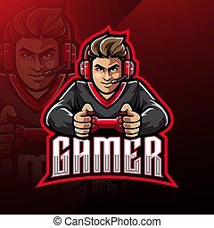 esport, logotipo, mascote, gamer, desenho