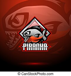 esport, logotipo, piranha, mascotte, disegno