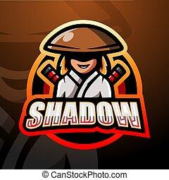 esport, ronin, conception, logo, mascotte